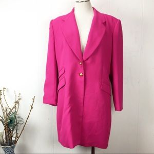 Vintage Hot Magenta Pink Long Blazer Jacket 12